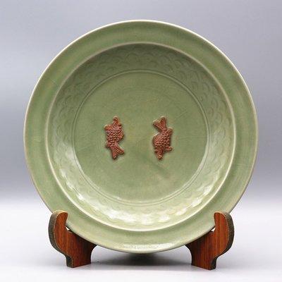古董瓷器古玩古瓷器宋龍泉窯青梅綠雙魚暗刻海水紋盤子碟子收藏
