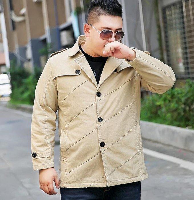 韓系中長款風衣男裝冬季外套超大號寬松加絨加厚風衣 100KG可穿  Y247