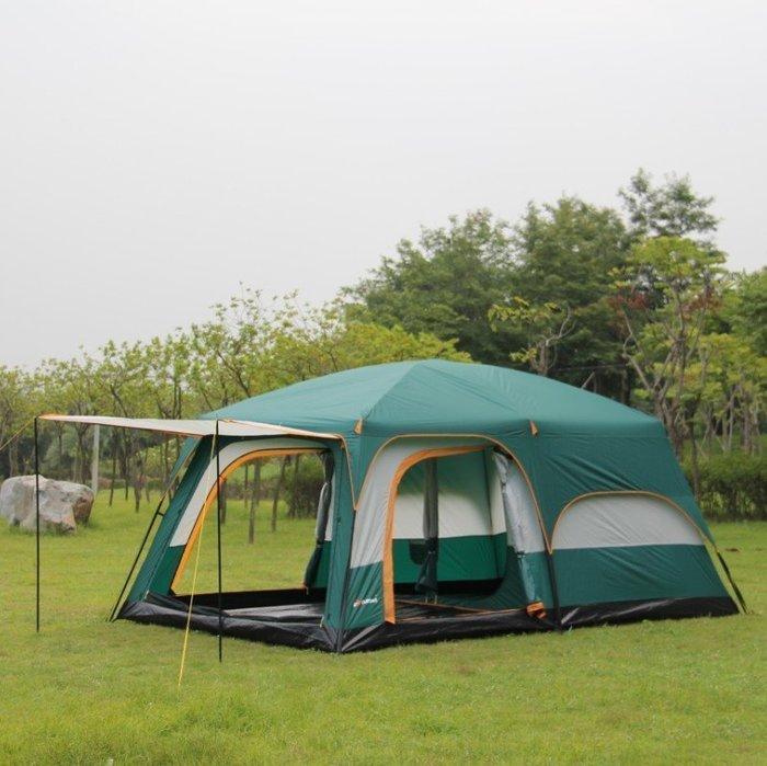 【優上精品】兩房一廳帳篷戶外野營6人8人10人12人二室一廳多人大帳篷 休閑(Z-P3219)