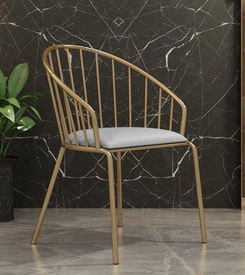 『格倫雅』北歐餐椅 簡約現代金色餐椅 家用鐵藝靠背椅休閑設計師椅^1635