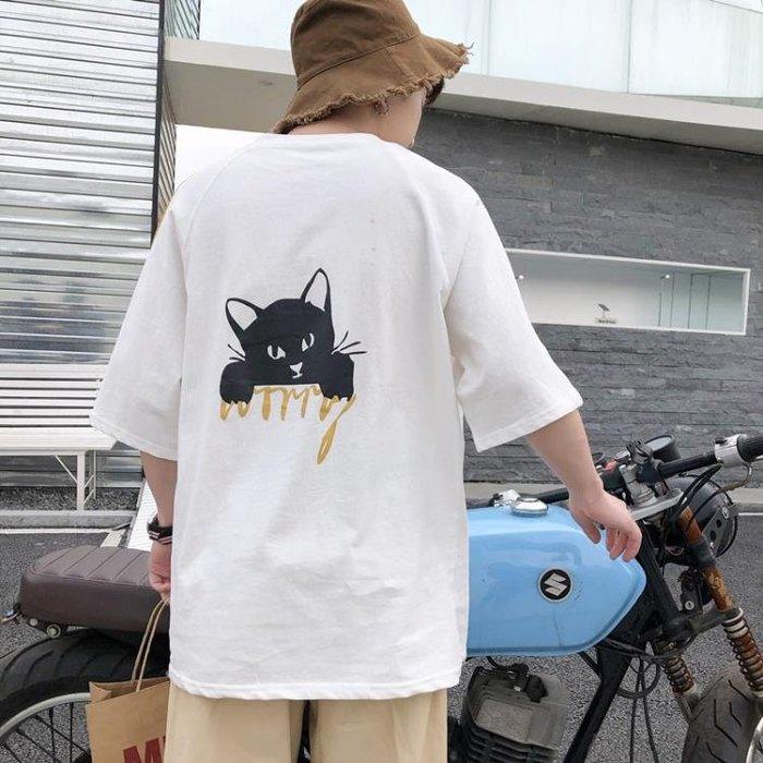 夏季寬鬆五分袖t恤男原宿bf風短袖韓版學生中袖潮流7七分袖上衣服 『簡木家飾』