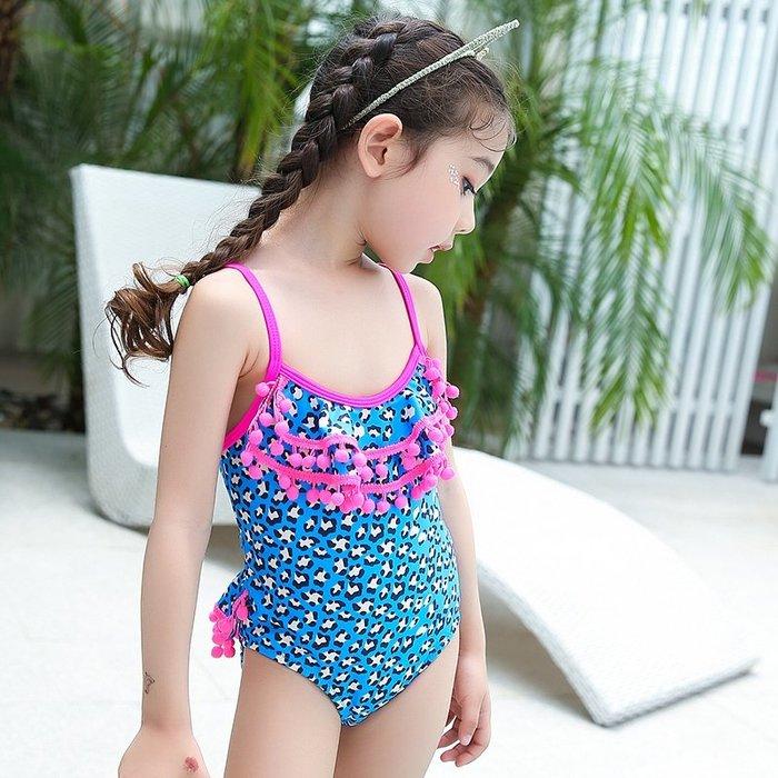 【小阿霏】兒童一件式泳衣 女童球球流蘇藍豹紋連身泳裝 女孩遮肚保守泳裝SW48