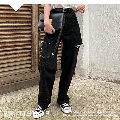BRITISHOP= 歐美 復古 黑色 割破 高腰 縮口 AB褲 牛仔褲 ASOS最愛 特價1490