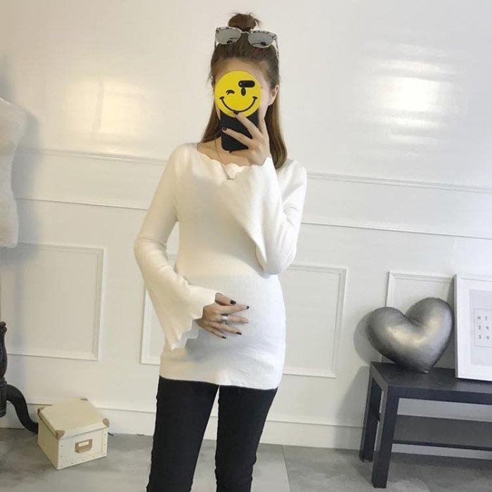 孕婦裙 孕婦裝秋季新款孕婦針織衫修身毛衣內搭打底衫中長款時尚孕媽