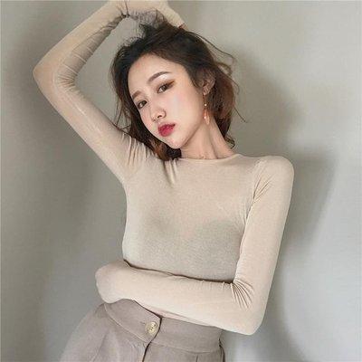 【可樂生活】秋裝新款顯瘦純色打底衫長袖性感小心機露背緊身T恤上衣女裝-免運費