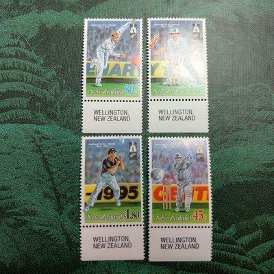 【大三元】紐澳郵票-058紐西蘭板球百年紀念日1995-新票4全1套-原膠上品