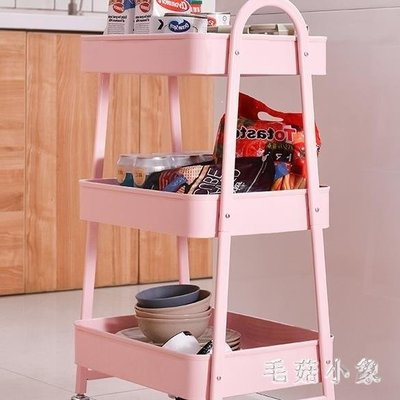 ZIHOPE 收納推車 移動置物架小推車宜家帶輪臥室廚房客廳美容粉色多層ZI812