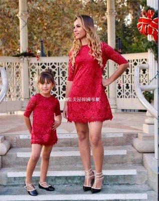 JMW集美屋韓國專櫃團購ebay  速賣通熱銷爆款 歐美母女親子裝 蕾絲連衣裙  廠價直銷