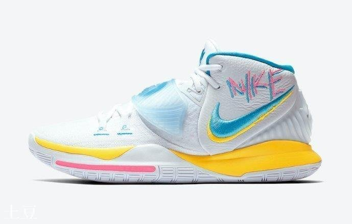 (土豆)Nike Kyrie 6 Neon Graffiti 塗鴉 南海岸 白藍黃 限量 籃球跑步鞋 BQ4631-101