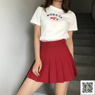 歐美復古少女高腰顯瘦顯腿長百褶短裙帶安全褲網球裙防走光半身裙