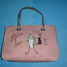 ~保證真品 Anna Sui 粉紅色單寧布和真皮款大方包 手提包 肩背包~便宜起標無底價標多少賣多少