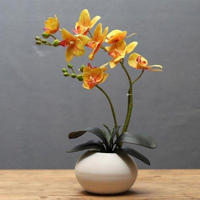 蝴蝶蘭仿真花藝套裝擺件創意客廳餐桌桌面...