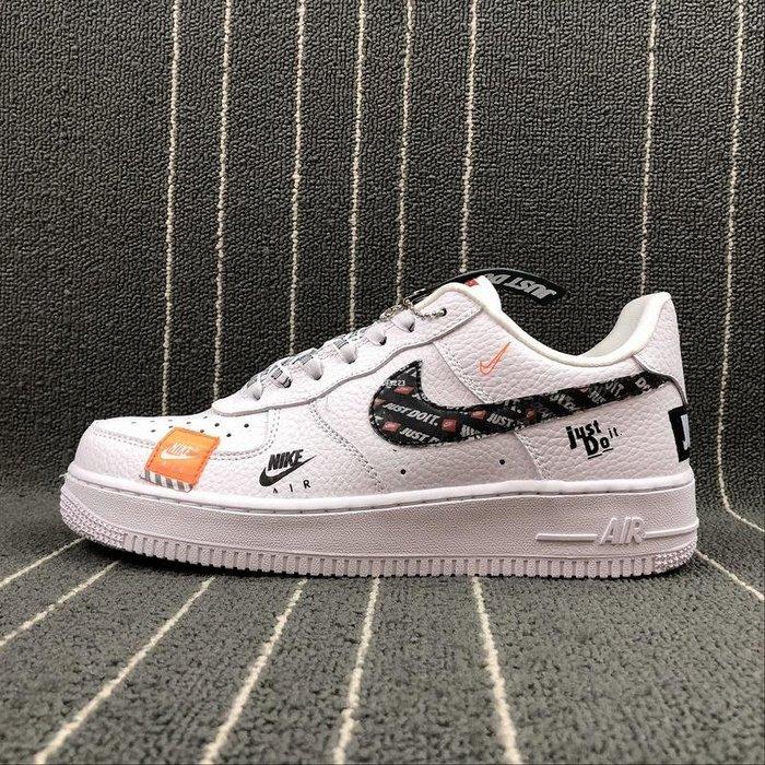 Nike Air Force 1 PRM Just do it 黑白 百搭 低幫 經典 休閒滑板鞋 AR7719-100 男