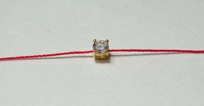 [Le Bonheur Line] 幸福線 手工訂製 / 四爪鑲 水鑽 摟空底 / 紅線 姻緣線 紅繩 手鍊 單鑽