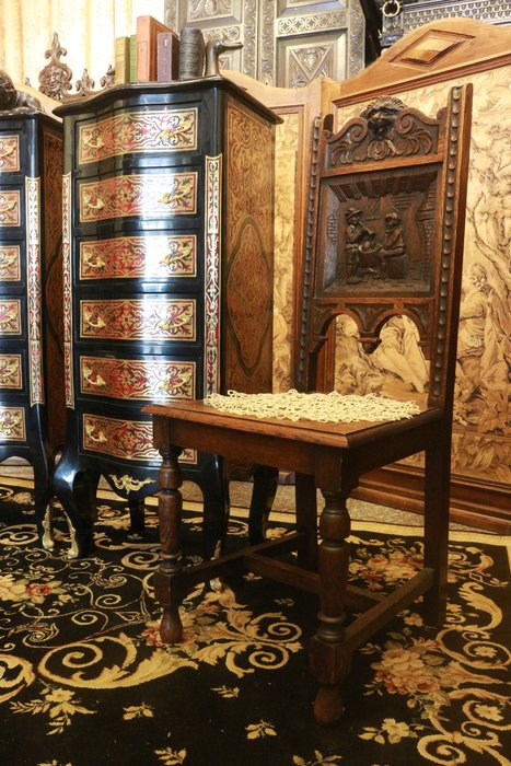 【家與收藏】特價稀有珍藏歐洲百年古董19世紀法國古堡莊園精緻手工刻花古典老橡木椅