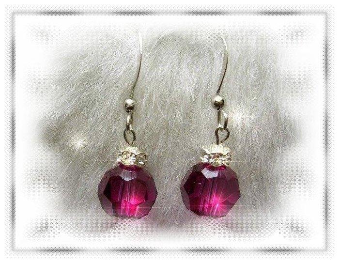 ※水晶玫瑰※ SWAROVSKI 10mm水晶珠 耳勾式耳環(DD323)~出清~三對免郵
