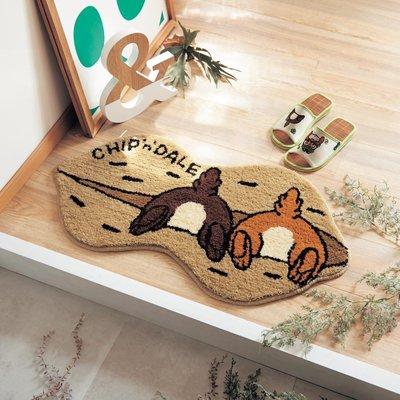 迪士尼DISNEY~花生造型奇奇蒂蒂 玄關地墊 墊子 地毯~防滑加工處理~日本製~40X75cm~心心小舖