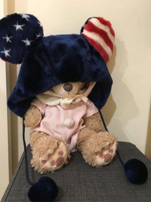 東京迪士尼 米奇 大頭 毛帽 聖誕節 disney 美國寶藍紅色國旗星星滿版  已斷貨 限定版贈園內提袋周年貼紙