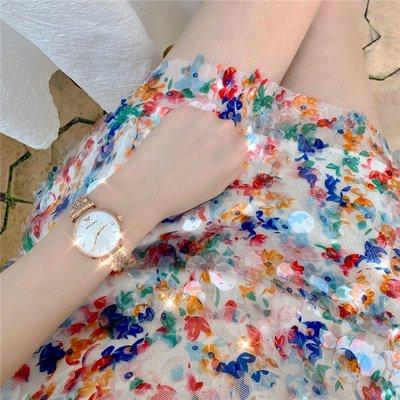 手錶正品Armani阿瑪尼滿天星手表女玫瑰金鑲鉆簡約鋼帶石英表AR11059
