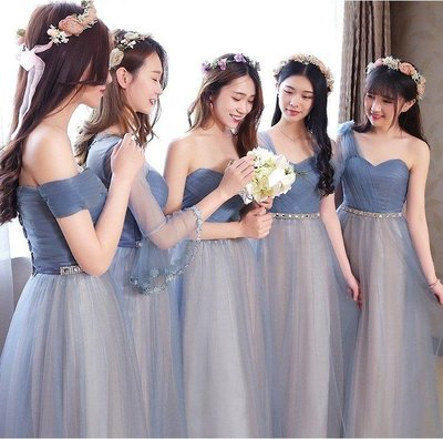 ZIHOPE 伴娘禮服 伴娘服長款姐妹裙夏季韓版宴會晚禮服顯瘦伴娘團禮服短款女ZI812