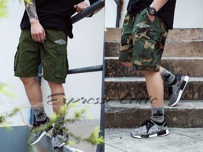 [ Expresso Latte 濃縮拿鐵 ] 美式休閒  潮流款工作短褲  多口袋設計 精緻繡圖