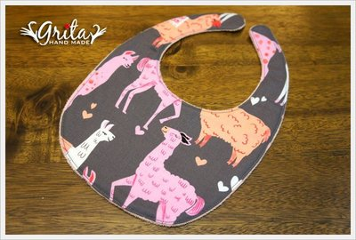 ♥gritas handmade♥純棉手作嬰幼兒圍兜兜/領巾/口水巾/三角巾/彌月禮—可愛草泥馬