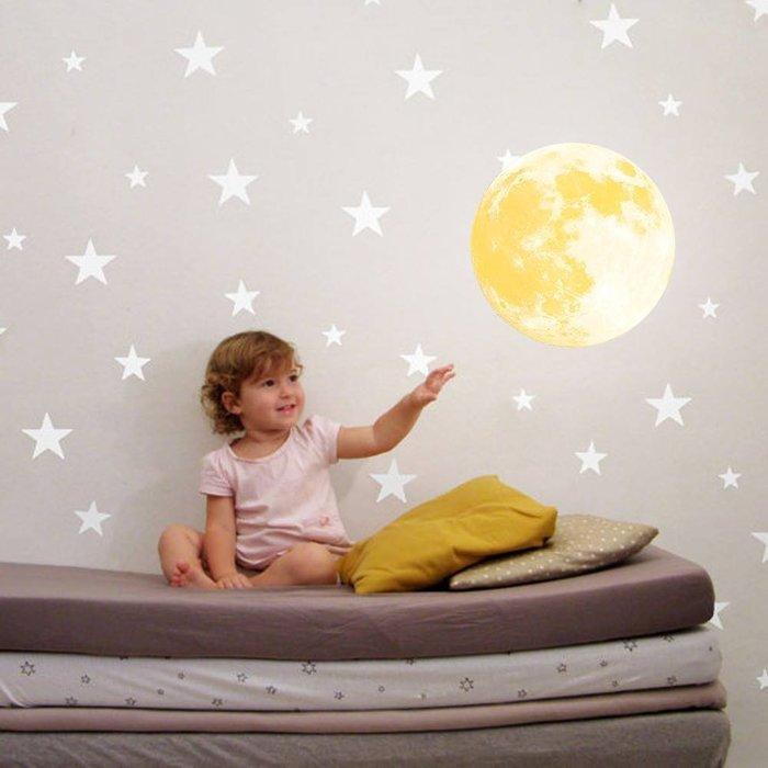 ☆║♥愷心小舖♥║☆Funlife 直徑30cm 發光 兒童裝飾 夜光 發光 月亮 牆貼~~強力上市~~溫暖月亮~~