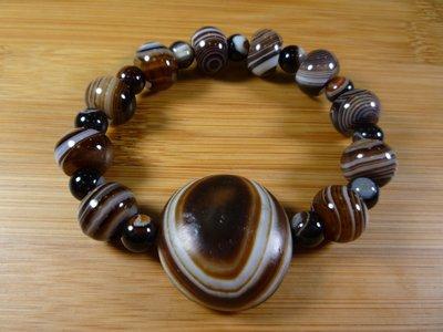 【珠添神聖】天然老礦 溫潤包漿老皮殼 藥師珠 羊眼板珠 (魯密)一眼天珠手鍊~附絨布袋檀香油~A4
