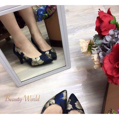 BW 日本製 Jelly Beans 6cm 高跟鞋 花布漂亮 #9510MMB(白兔🐰仔系列)好著 內裡全包軟綿好著