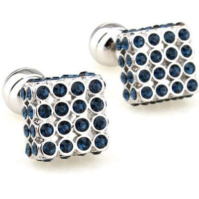 ☆TA精品☆ 男士精品-袖扣  藍色方形袖釦  156955