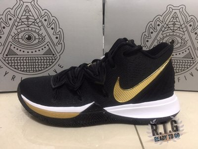【R.T.G】NIKE KYRIE IRRVING 5 EP XDR 黑白 金勾 耐磨底 籃球 男 AO2919-007