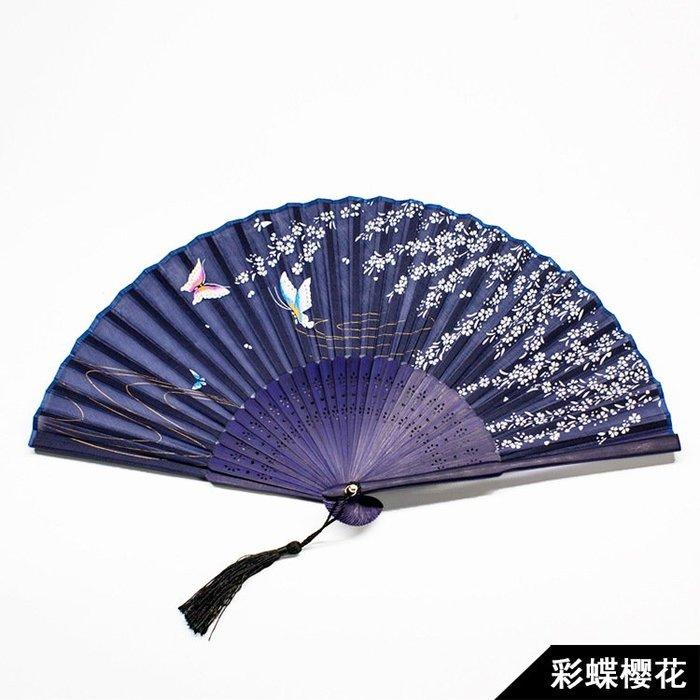 日式折扇中國風扇子絹扇和風夏季男女扇櫻花古風折疊扇子(1)--贈送市價50元的精美扇套