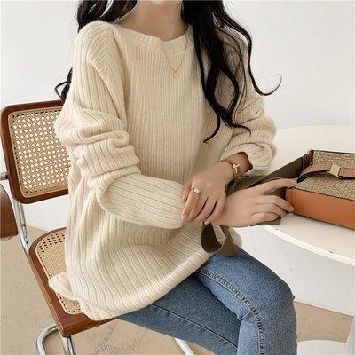 YOHO 現貨長袖毛衣 (HH12127) 實拍秋冬保暖厚實寬鬆前短後長毛衣 針織衫 有3色
