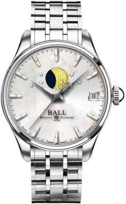 [永達利鐘錶] BALL 月向機械日期珍珠貝面女錶 34mm NL3082D-SJ-WH