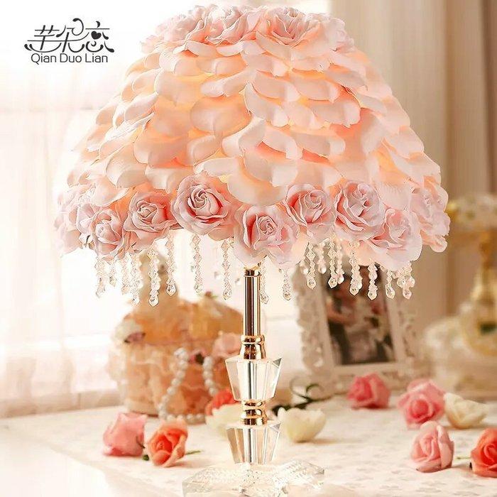 粉紅玫瑰精品屋~韓式可愛公主婚慶枱燈卧室立體玫瑰花床頭燈~