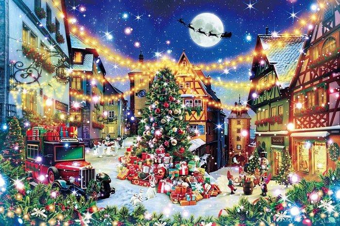 拼圖專賣店 日本進口拼圖 12-061(1000片夜光拼圖 德國 羅騰堡 聖誕夜)