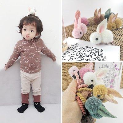 【小阿霏】兒童包邊髮夾髮圈毛絨長耳兔女孩立體安全邊夾髮繩髮束 寶寶團拍生日寫真拍照髮飾HA175