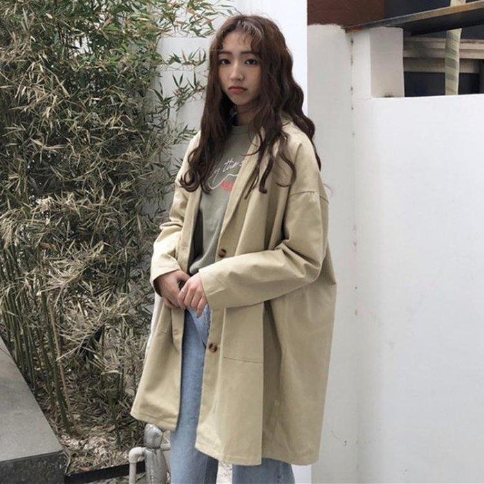 韓版BF風寬鬆復古工裝風衣中長款長袖休閒開衫夾克上衣外套女