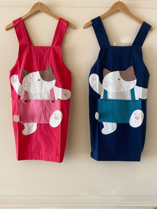 日本卡拉貓~Gon醬吊帶褲拼布圍裙 工作服