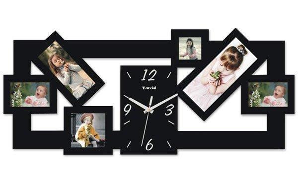 【御品生活】造型掛鐘(橫款)(黑色/白色)※含六個造型相框※ 時鐘 壁鐘
