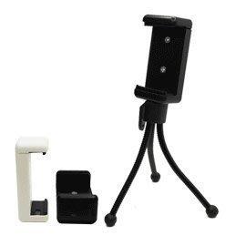 ROWA ㄇ字手機背夾 + 桌上型章魚小腳架 (彈力手機夾/手機夾)-黑色