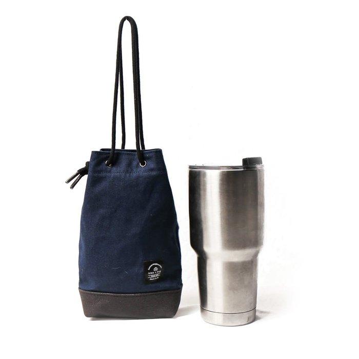 點子包【icleaXbag】飲料提袋 簡約飲料隨行袋 手搖 小物袋 小酒袋 無塑 可刻字 藏藍色 DG31