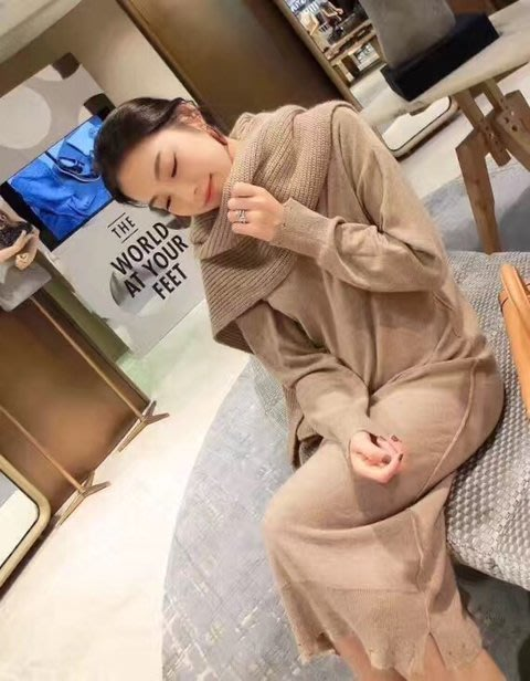 C-Ting簡約韓國 質感針織披肩及針織洋裝/100%韓國空運