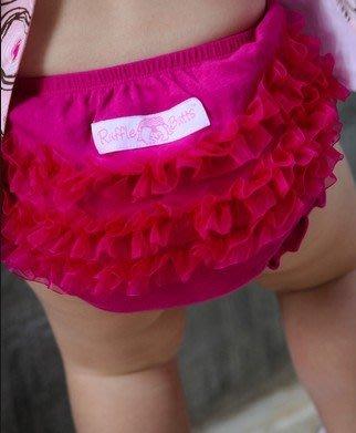 【100%正品 特價新品】美國原裝正品Ruffle Butts小女生荷葉包屁褲-蕾絲桃紅