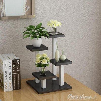 ZIHOPE 花架 簡約創意迷你小型花架辦公書桌面上多層功能肉肉植物階梯式置物架ZI812