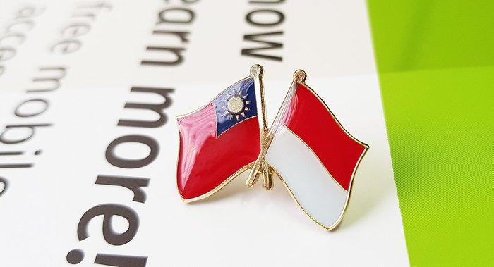 【衝浪小胖】印尼雙國旗徽章/胸章/勳章/別針/獎章/印尼