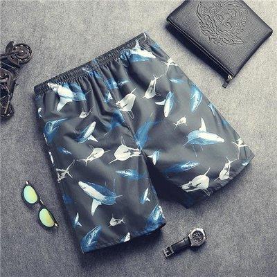 沙灘褲男女速乾寬鬆海邊蜜月度假五分短褲鯊魚大碼5分褲休閒短褲