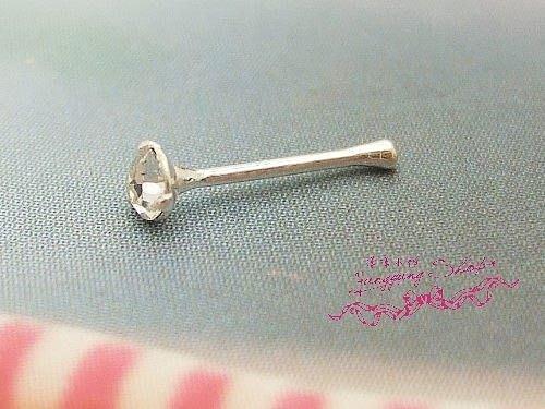 *。漾漾小舖*。基本款簡單水鑽鼻環耳環.925純銀【C980】☆