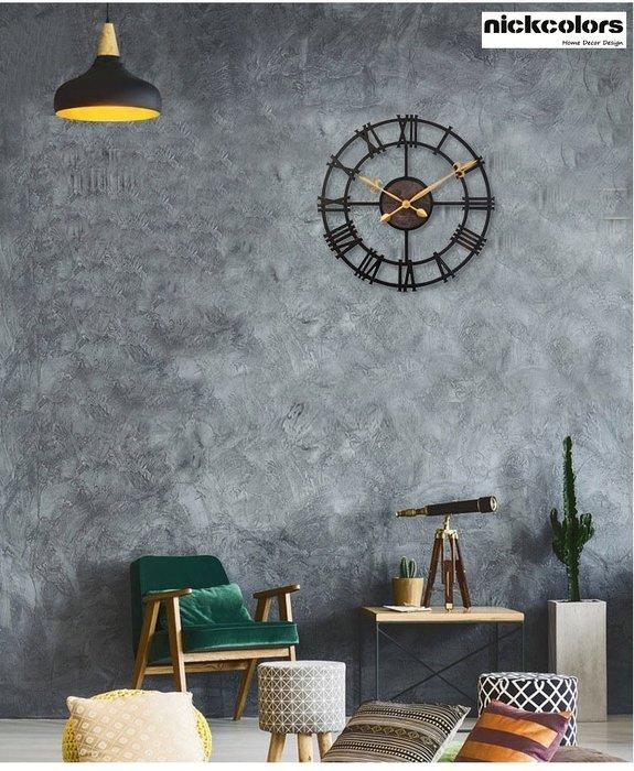 尼克卡樂斯~復古縷空羅馬數字圓形大掛鐘 仿金屬大型時鐘 靜音時鐘 復古工業風掛鐘 歐洲鄉村風時鐘 客廳時鐘 臥室時鐘