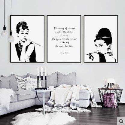 『格倫雅』赫本剪影奧黛麗赫本裝飾畫樣板間展廳掛畫黑白美女服裝店海報壁畫^21751